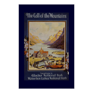 """The Call of the Mountains"" Vintage Travel Poster"