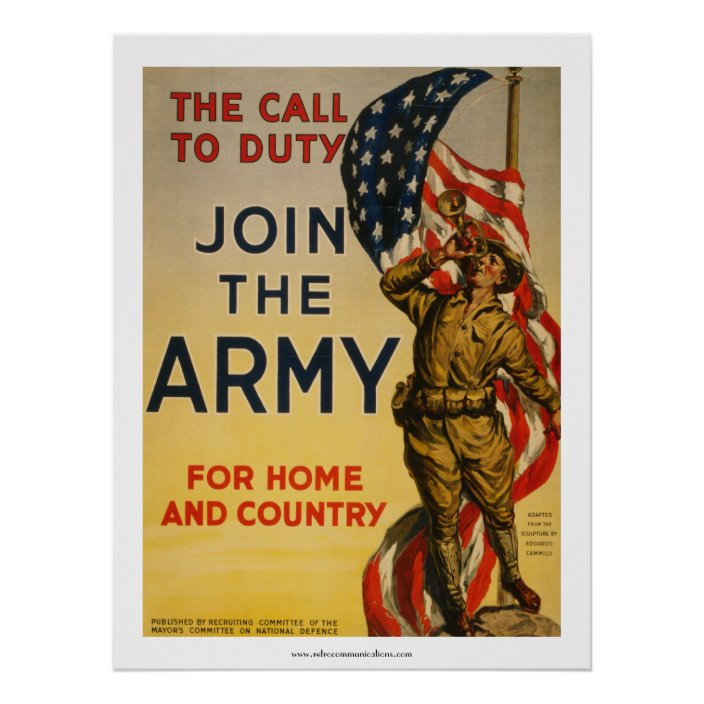 The Call To Duty Join The Army Poster Zazzle Com