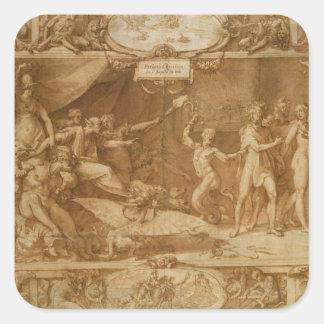 The Calumny of Apelles, 1572 Square Sticker
