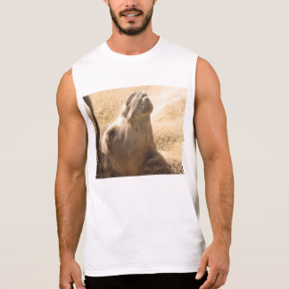 The camel is chillin like a villain. sleeveless shirt