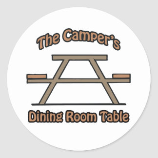 The campers dining room table classic round sticker