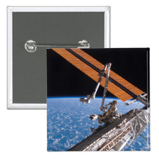 The Canadarm2 and solar array panel wings Pinback Button
