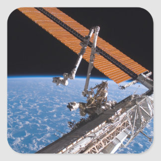 The Canadarm2 and solar array panel wings Square Sticker
