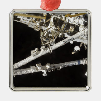 The Canadian-built space station Square Metal Christmas Ornament