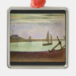 The canal at Gravelines by Georges Seurat Christmas Tree Ornaments