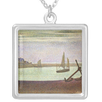 The canal at Gravelines by Georges Seurat Square Pendant Necklace