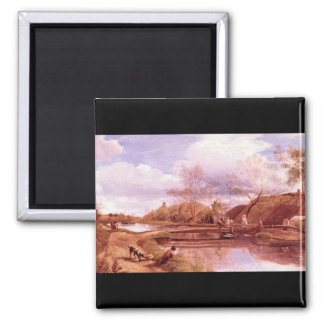 The Canal at Newbury', John_Landscapes 2 Inch Square Magnet