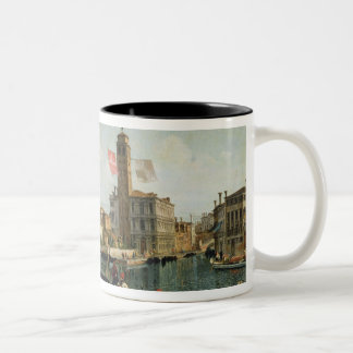 The Canal Grande and S. Geremia, Venice (oil on ca Two-Tone Coffee Mug