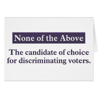 The candidate for the discriminating voter card