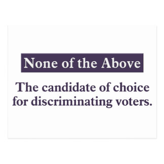 The candidate for the discriminating voter postcard