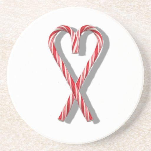 The Candy Canes Heart Collection Beverage Coasters