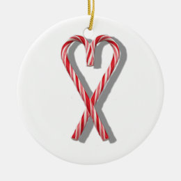 The Candy Canes Heart Collection Ceramic Ornament