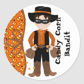 The Candy Corn Bandit Round Stickers
