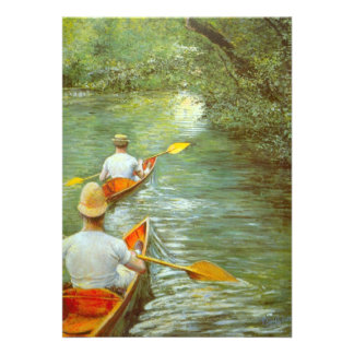 The Canoes by Caillebotte Vintage Impressionism Personalized Announcement