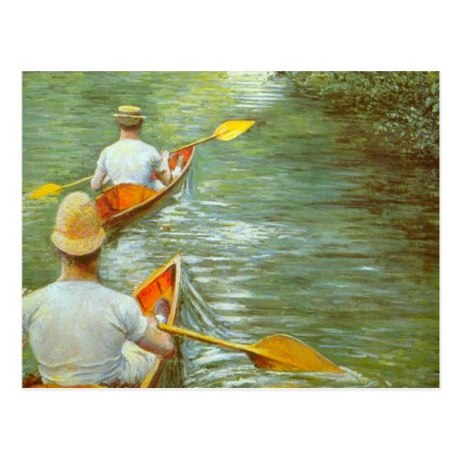 The Canoes by Caillebotte, Vintage Impressionism Postcards