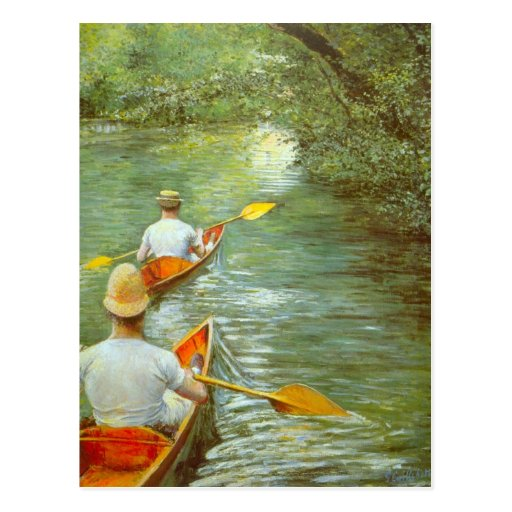 The Canoes by Caillebotte, Vintage Impressionism Postcard
