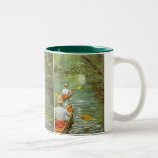 The Canoes, Perissoires by Gustave Caillebotte Two-Tone Coffee Mug