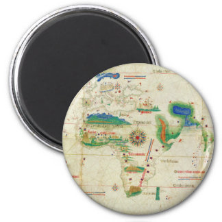The Cantino Planisphere World Map (1502) 2 Inch Round Magnet