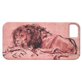 THE CAPE LION LYING DOWN, Antique Pink ,Black iPhone SE/5/5s Case