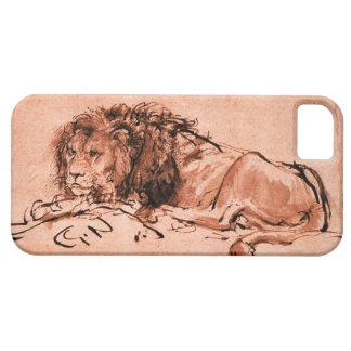THE CAPE LION LYING DOWN,Antique Pink ,Black iPhone SE/5/5s Case