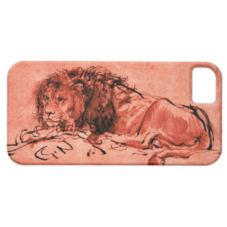 THE CAPE LION LYING DOWN, Antique Red ,Black iPhone 5 Cases