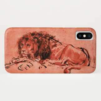 THE CAPE LION LYING DOWN, Antique Red ,Black iPhone X Case