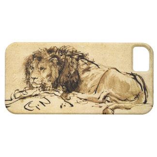 THE CAPE LION LYING DOWN, Antique sepia ,Black iPhone SE/5/5s Case