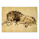 THE CAPE LION LYING DOWN GREETING CARD