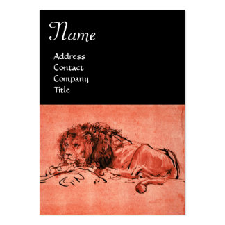 THE CAPE LION LYING DOWN MONOGRAM ,Red,Pink Black Large Business Cards (Pack Of 100)