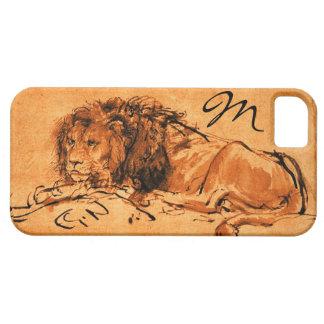 THE CAPE LION LYING DOWN, Orange ,Black Monogram iPhone SE/5/5s Case