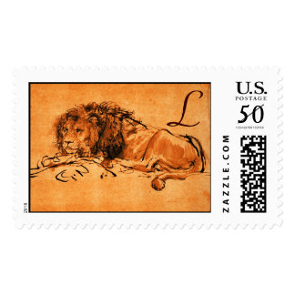 THE CAPE LION LYING DOWN, Orange ,Black Postage