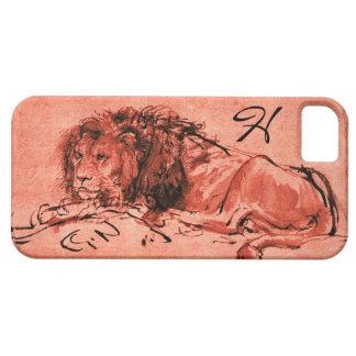THE CAPE LION LYING DOWN, Pink ,Black Monogram iPhone SE/5/5s Case
