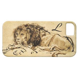 THE CAPE LION LYING DOWN, Sepia ,Black Monogram iPhone SE/5/5s Case