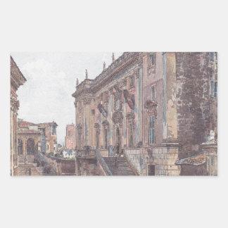 The Capitol in Rome by Rudolf von Alt Rectangular Sticker