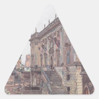 The Capitol in Rome by Rudolf von Alt Triangle Sticker