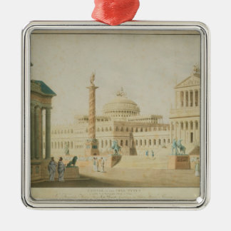 The Capitol, set design for 'Titus' Square Metal Christmas Ornament