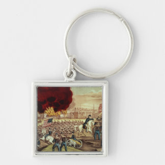 The Capture of Atlanta by the Union Army Silver-Colored Square Keychain