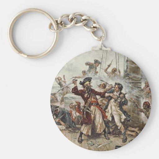 The Capture of Blackbeard Basic Round Button Keychain