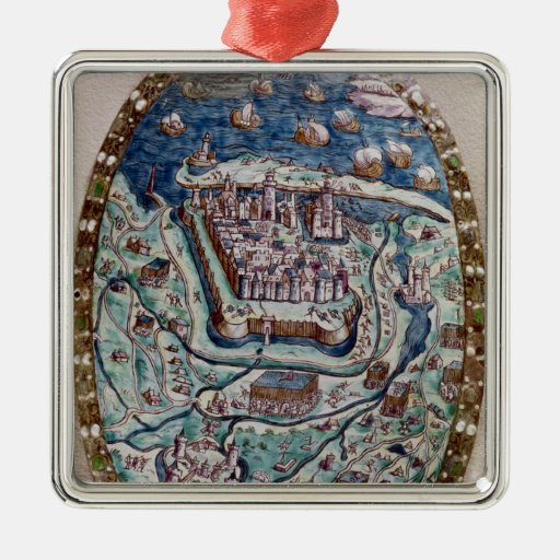 The Capture of Calais by the French in 1558 Square Metal Christmas Ornament