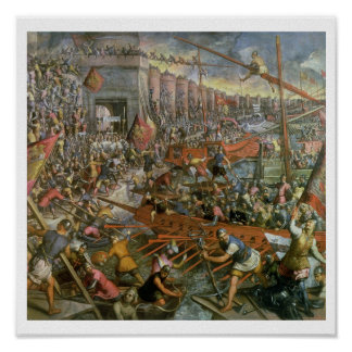The Capture of Constantinople in 1204 (oil on canv Posters