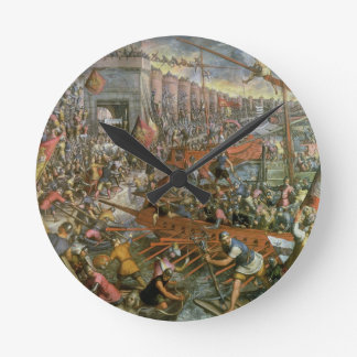 The Capture of Constantinople in 1204 (oil on canv Round Clock