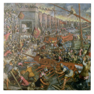 The Capture of Constantinople in 1204 (oil on canv Tile