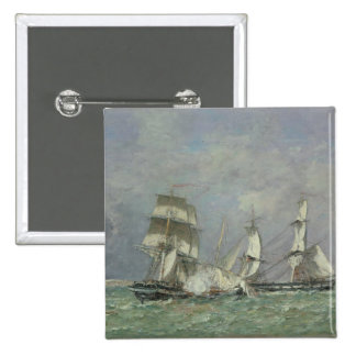 The Capture of the 'Petit Rodeur', 1878 (oil on ca 2 Inch Square Button