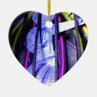 the captured to flower fairy Double-Sided heart ceramic christmas ornament
