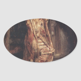 The Carcass of an Ox by Rembrandt Oval Sticker