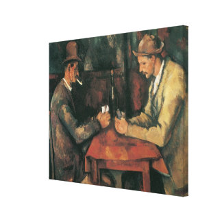 The Card Players by Cezanne, Vintage Impressionism Canvas Prints