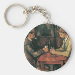 The Card Players by Cezanne, Vintage Impressionism Basic Round Button Keychain