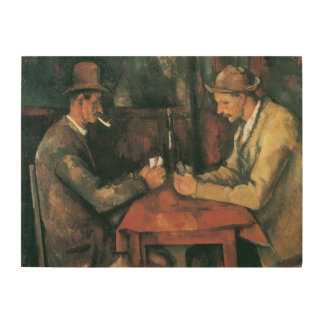 The Card Players by Cezanne, Vintage Impressionism Wood Canvas