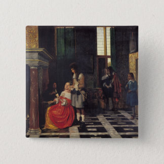The Card Players, c.1663-65 Pinback Button