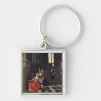The Card Players, c.1663-65 Silver-Colored Square Keychain